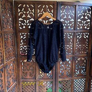 Black bodysuit with lace